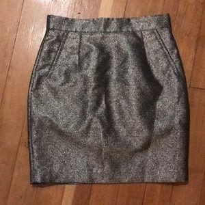 H&M gold metallic pencil skirt